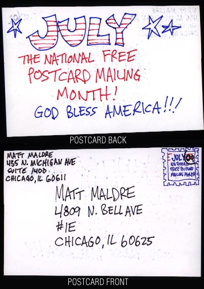July is National Free Postcard Mailing Month