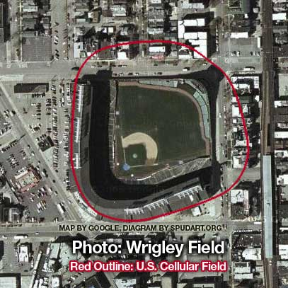 Size Comparison Of Wrigley Field And US Cellular Field Spudart - Us cellular field map