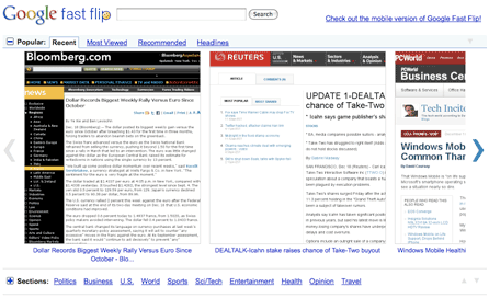 Google Fast Flip is like a mashup of portals, webpages, and Google Reader