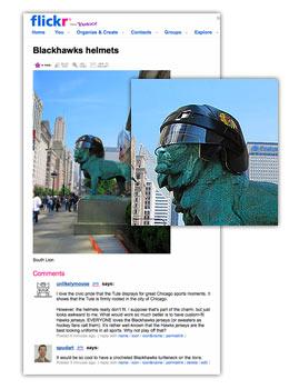 Blackhawks helmets wrong size on Art Institute lions