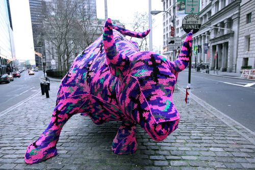 Wall Street Bull Crochet Yark Olek