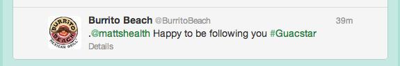 .@mattshealth Happy to be following you #Guacstar