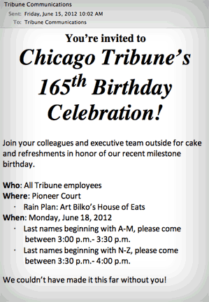 email from Tribune communications