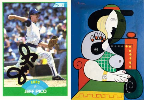 Jeff Pico autograph compared to Picasso painting