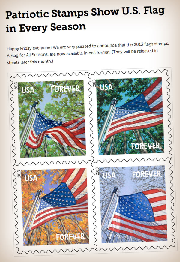 Forever crossed out on American flag stamp