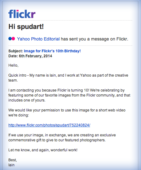 I am contacting you because Flickr is turning 10
