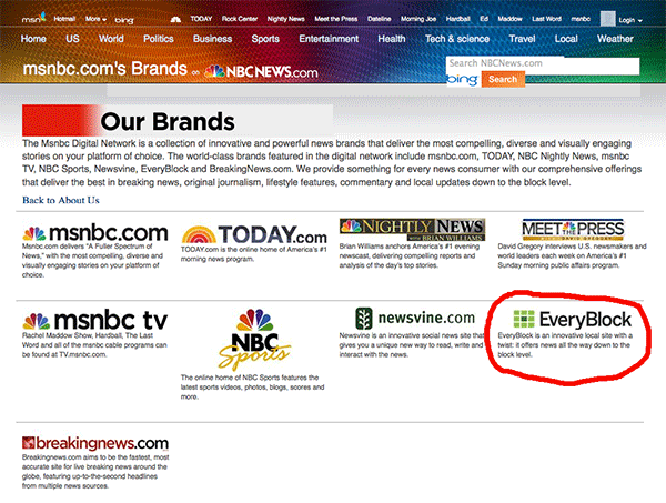 Everyblock still appears in NBC portfolio of brands after Everyblock is shut down