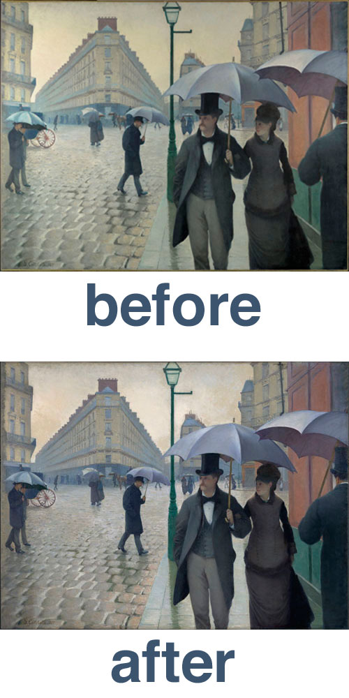 painting restoration of gustave caillebotte s paris street rainy