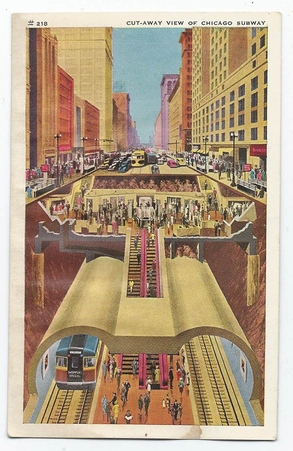 Card #210 Cut-away view of Chicago Subway