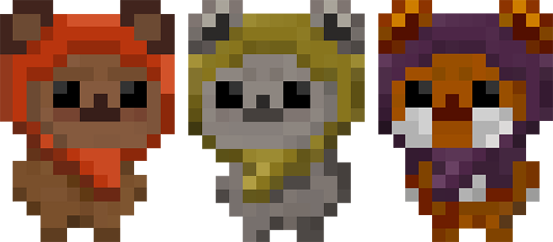 adorable ewok wallpaper in 8-bit artwork