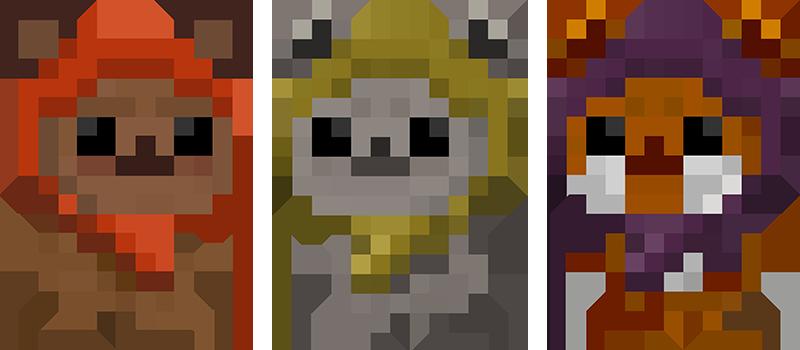 adorable ewok wallpaper in 8-bit artwork