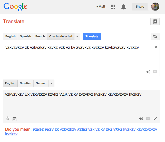 Google Translate for vzkvzvkzv