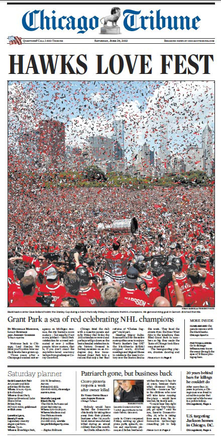 Amazing photo of the Blackhawks celebration