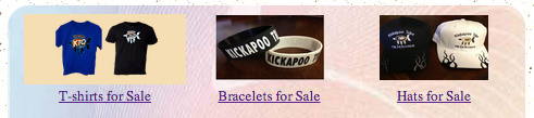 Kickapoo tshirts, bracelets, and hats for sale