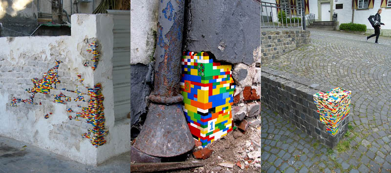 collection of photos of LEGO brick public art