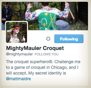 The Twitter account for the Croquet Superhero