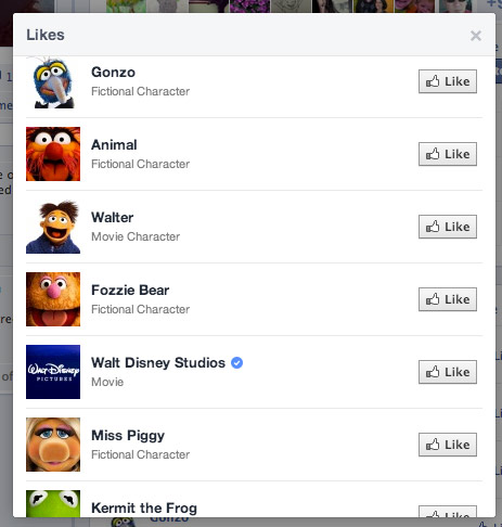 List of Muppet characters with Facebook Pages