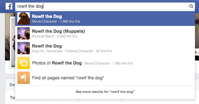 Search for Rowlf the Dog on Facebook