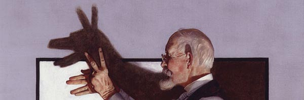A detail of Norman Rockwell's painting _Shadow Artist,_ which is in the personal collection of _Star Wars_ filmmaker George Lucas. (Smithsonian American Art Museum)