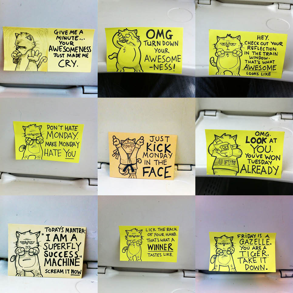 What A Public Artist Learned From Cute Motivational Sticky Notes - Hilarious motivational cat post notes found train