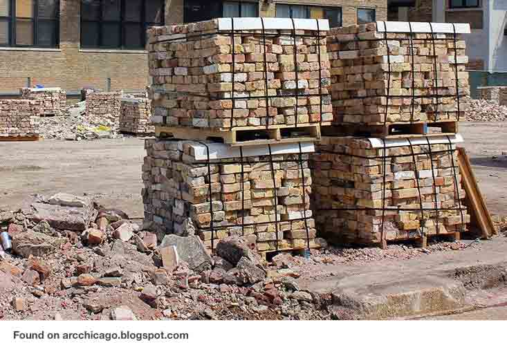 heavy stack of bricks on palettes