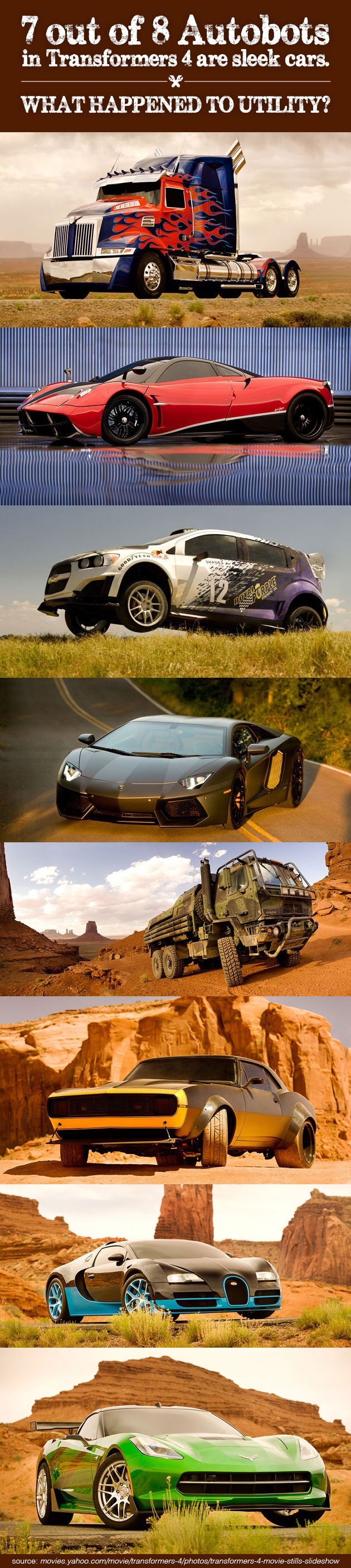 7 out of 8 Autobots in Transformers 4 are sleek cars. What happened to utility?