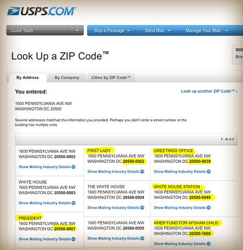 What the Post Office tells us about zip codes for the White House and President
