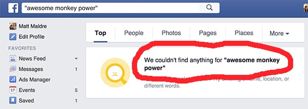 Facebook has no awesome monkey power