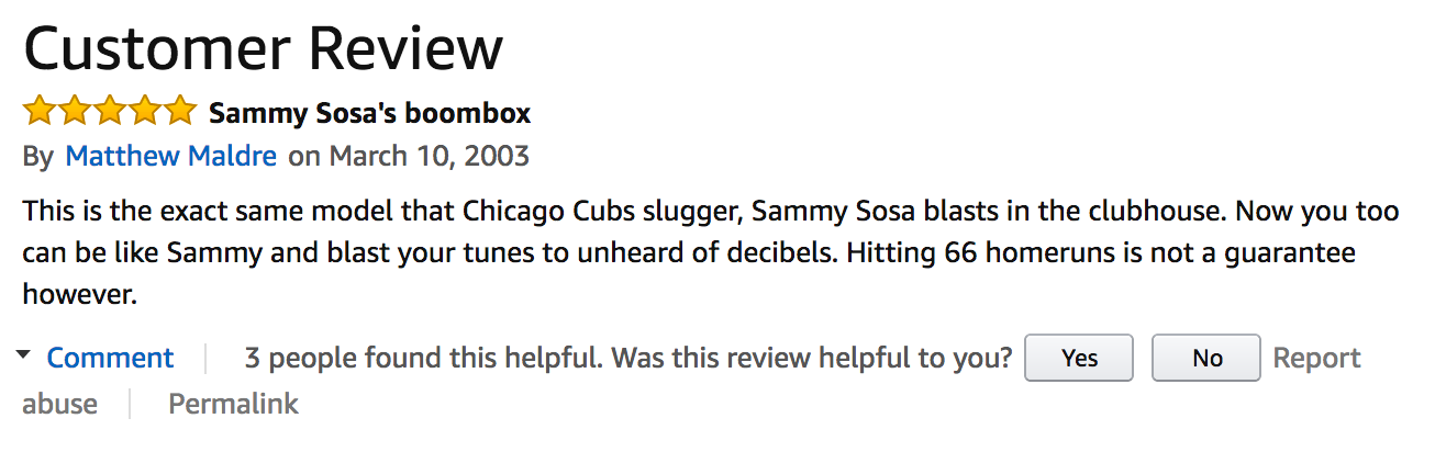 amazon review of sammy sosa's boombox