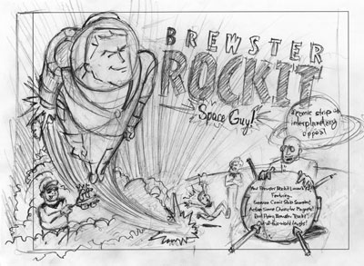 Sketch of Brewster Rockit promo kit