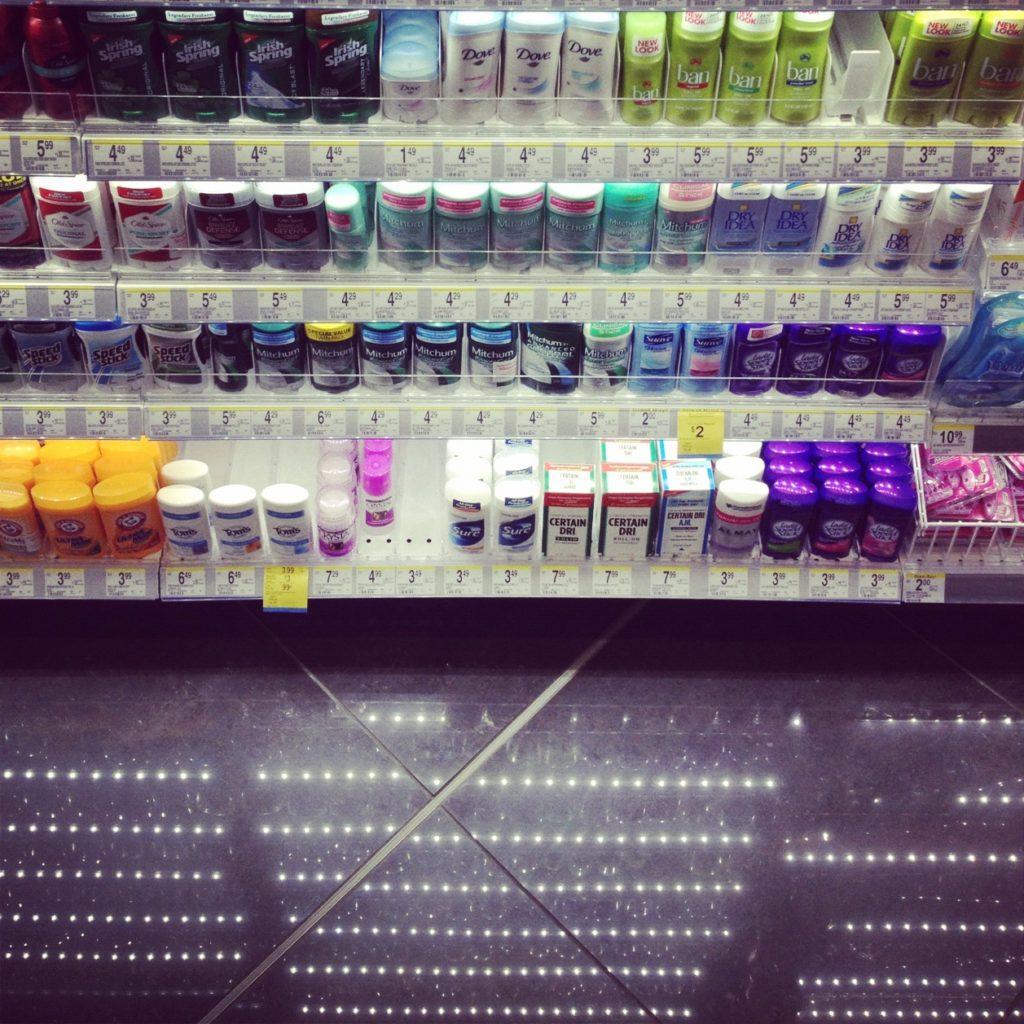 Tron's deodorant aisle in Walgreens