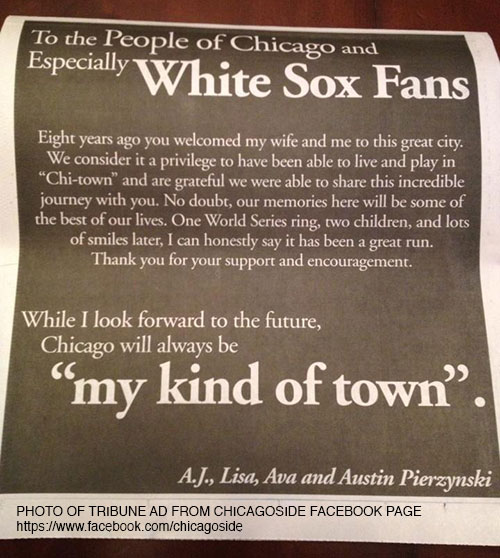 How AJ Pierzynski goofed his Chicago Tribune ad