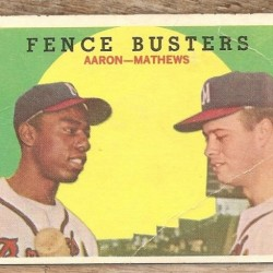 1958 Topps Fence Busters # 212 - Hank Aaron and Eddie Mathews