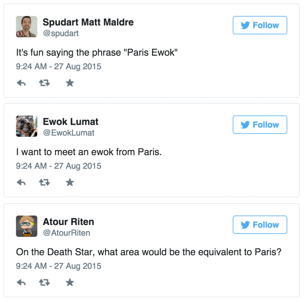 Tweets about Paris and ewoks
