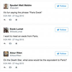 Tweets about Paris and ewoks