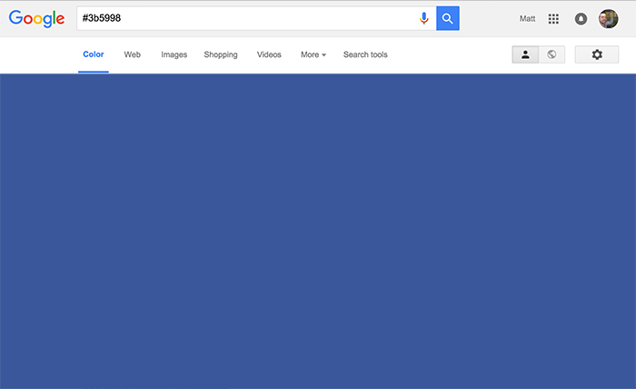 Mockup Google results for googling a hexvalue