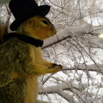 Enjoying the view from my lady ships window. #snowday #gentlemansquirrel