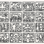 Keith Haring black and white drawing