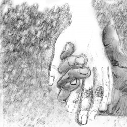 Finished drawing: two hands holding