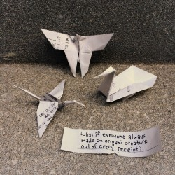 Origami made from reciepts