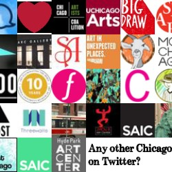 Collage of all 49 Chicago art organizations on Twitter
