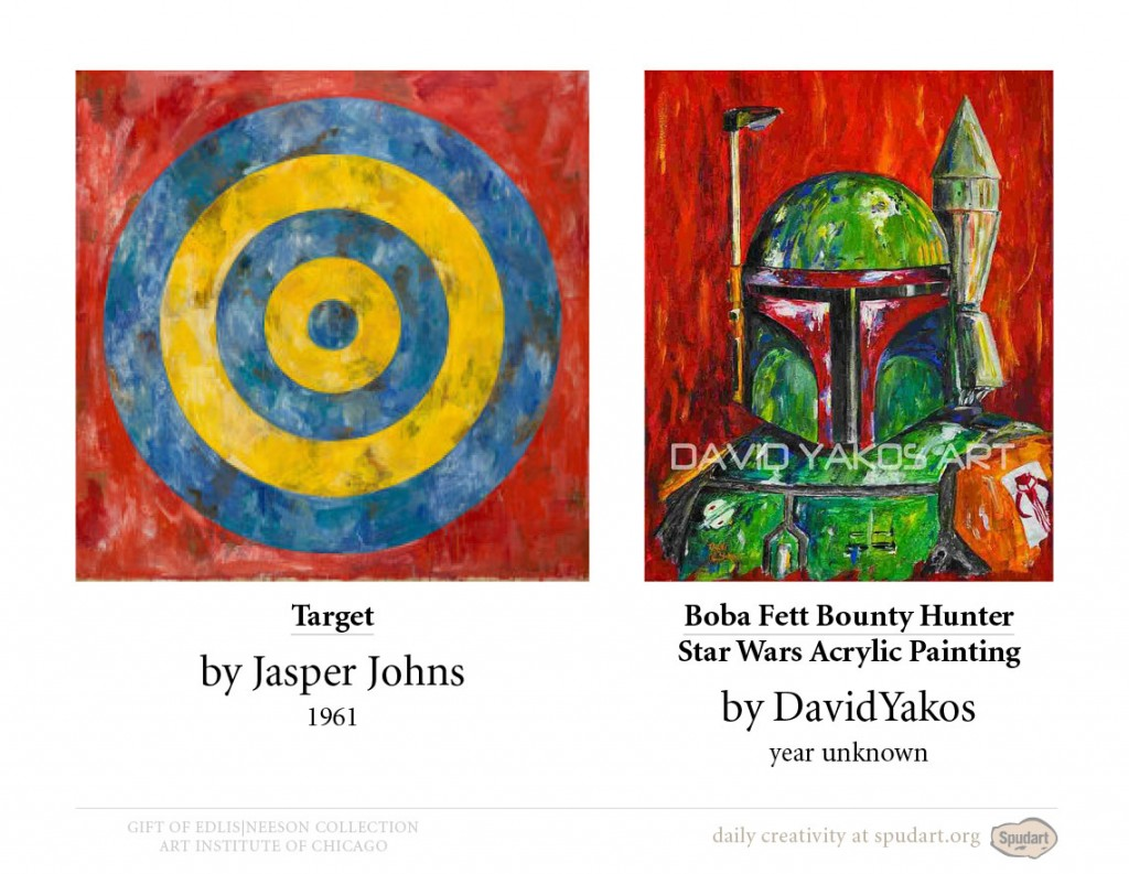 Target, 1961 by Jasper Johns • Boba Fett Bounty Hunter Star Wars Acrylic Painting by DavidYakos