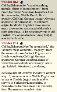 Etymology of wonder