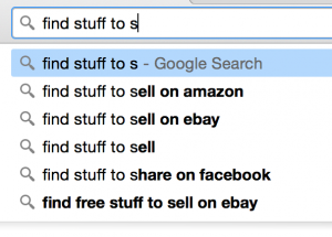 Google auto-fill for: find stuff to s____