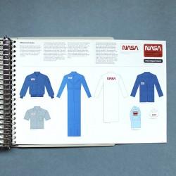 NASA bell-bottom flight-suit, flight jacket, laboratory coat, blazer, security shirt, and hard hat