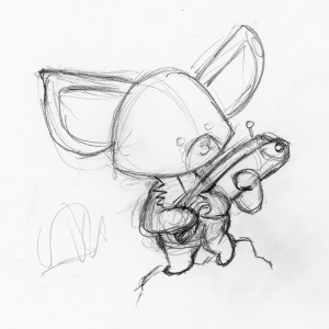 Character sketch of Akora the fennec fox with ray gun