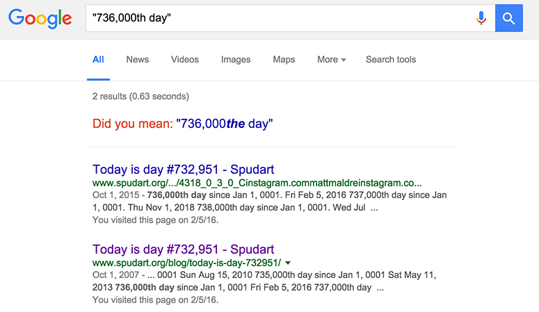 google results for 736,000 days