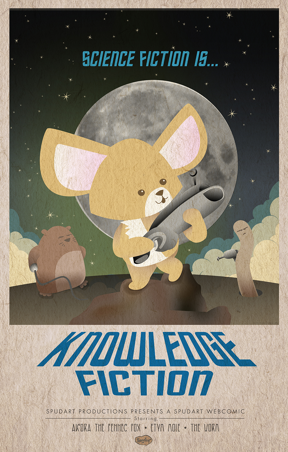 Sci fi is Knowledge Fiction vintage poster