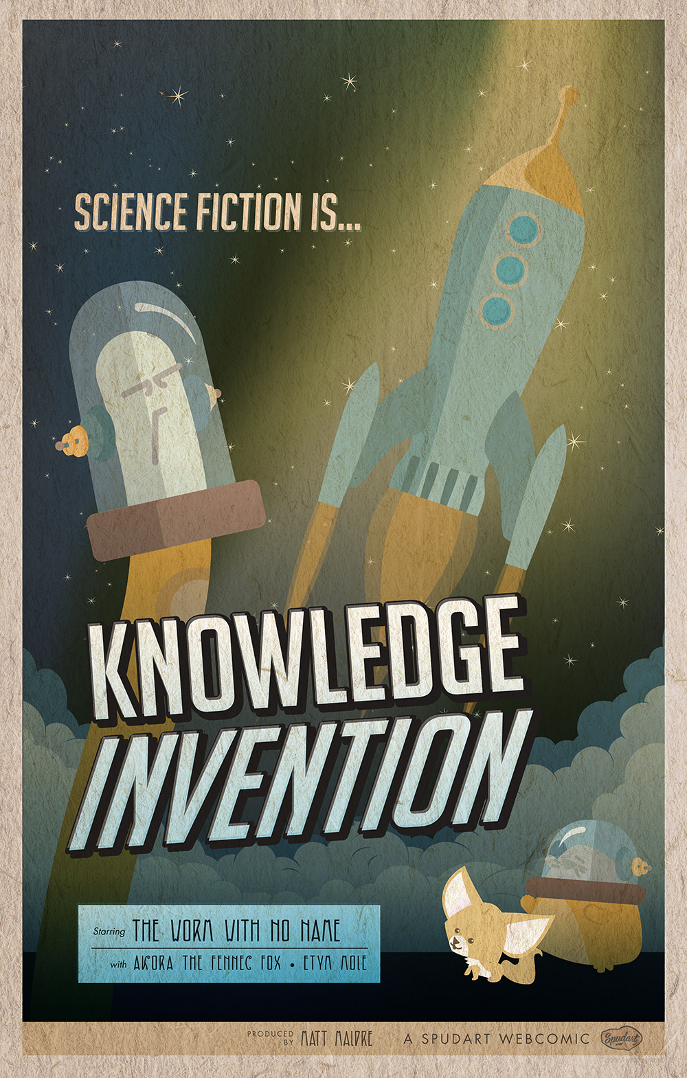Sci fi is Knowledge Invention vintage poster