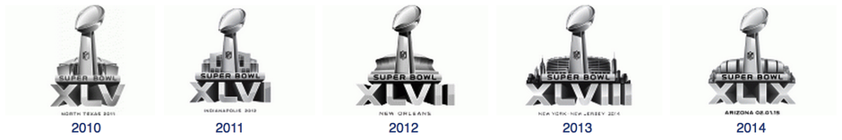 Super Bowl logos of 2010, 2011, 2012, 2013, 2014, 2015